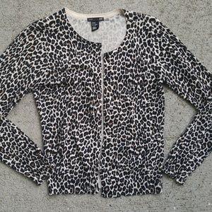 H&M 100% cotton button up cardigan animal print XS